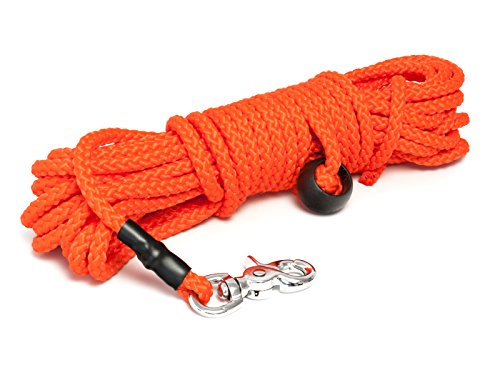 Mystique® Nylon Feldleine rund 7mm neon orange Scherenkarabinerhaken (10m)