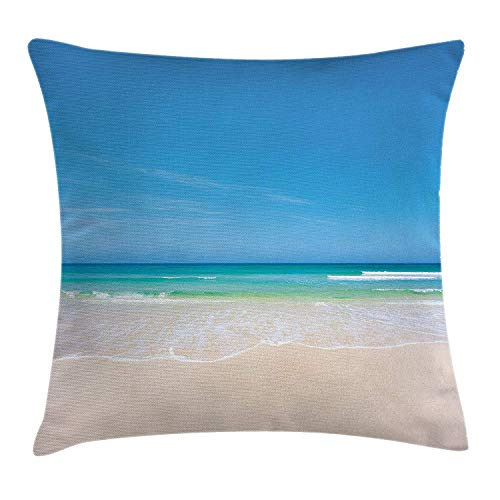 illow Cushion Cover, Summer Sandy Paradise Beach Sea and Sunny Sky Scene Secret Dream Space Nature Image, Decorative Square Accent Pillow Case, 18 X 18 Inches, Cream Blue ()