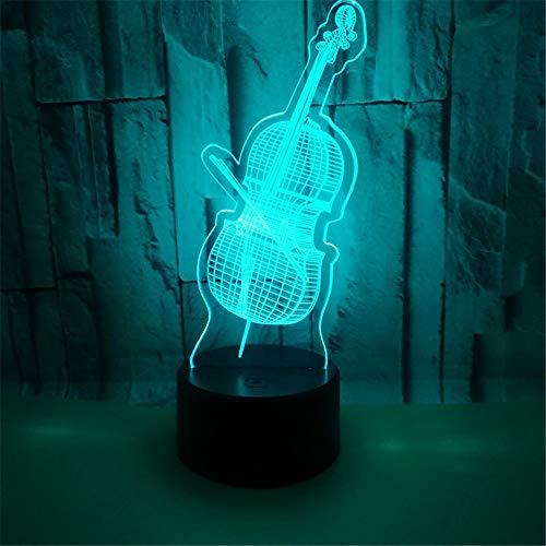 Violino 3D Led Usb Luci Colorate Lampada Decorativa Lampada Per Strumenti Musicali Fredda Per La Decorazione Della Stanza Notturna Regali Di Notte E Festivi Sette Colori 22 * 13 Cm (Touch Switch)