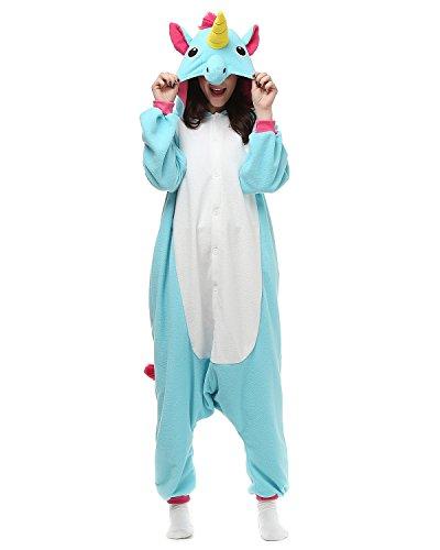 Kigurumi Blau Einhorn Pyjamas Kostüm Jumpsuit Tier Schlafanzug Erwachsene Unisex Fasching Cosplay Onesie (Katze Corgi Kostüm)