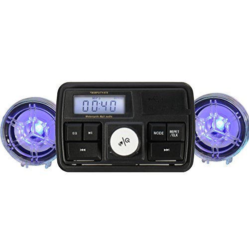 Alamor Motorcycle MP3 Player Handlebar Stereo Radio ATV Anti-theft Speaker Alarm