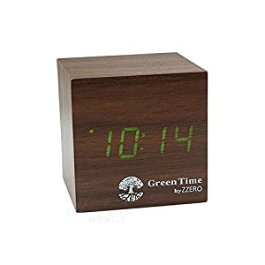 Green Time Wecker Uhr Tisch LED Clock Mahagoni Wood Style zwc120 C
