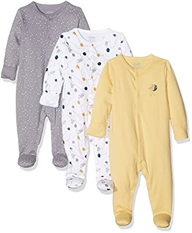 Mamas and Papas Baby Boys' 3Pk Space Sleepsuit, Multicoloured (Yellow/White/Charcoal), 0-3 Months pack of