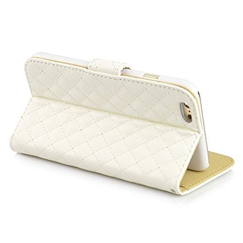 Phone case & Hülle Für IPhone 6 / 6S, Scrub Feel Horizontal Flip Magnetic Button Leder Tasche mit Card Slot & Halter ( Color : Magenta ) White