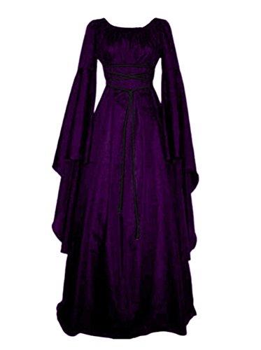 Damen Kleid Maxikleid Retro Boho Kleid Rundhalskleider Halloween Kostüm Langarm Kleid Renaissance...