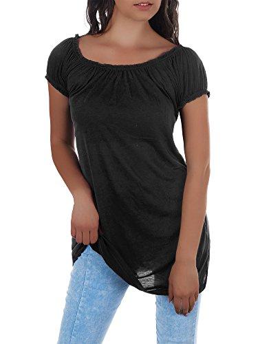 N395 Damen Longshirt Shirt Tunika Carmenbluse T-Shirt Minikleid Schulterfrei 5260ac8fed