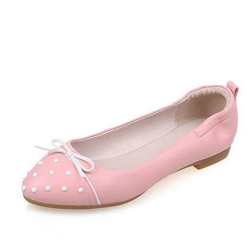 Schuhe Allhqfashion Auf Absatz Pumps Rund Ziehen Pink Damen Zehe Niedriger Eingelegt 4wrAzqfF4x