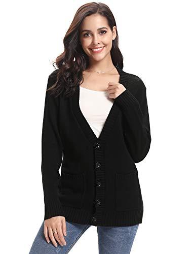 Abollria Gilet Femme Tricot avec Poches Boutons Veste Chandail Manches  Longues Cardigan Chic Crochet Sweater Ouvert 212be7b94d12