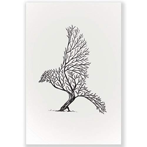 YCOLLC Schwarzweiß Tier Nordic Bild Adler Deer Leinwanddruck Wandkunst Malerei Dekorative Poster Wohnzimmer Büro Dekoration - Adler-raum-dekor