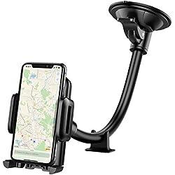 Mpow Soporte Móvil Coche, Soporte Móvil para Coche, para Parabrisas/Salpicadero,con Ventosa Fuerte y Brazo Ajustable, para iPhone Xs/Xs Max/X/8/7/7Plus/6, Samsung Galaxy S9/S8/Note 8, Huawei y ect.