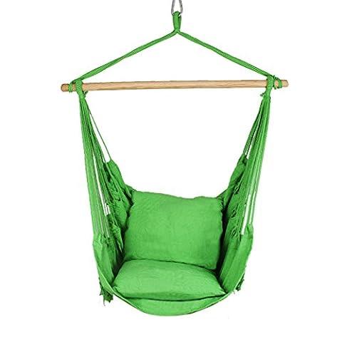 Holifine Hängesessel mit Querholz und Macrame Rand, belastbar bis 120 kg, grün