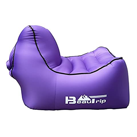 2017 NEW 100% Nylon Single Inlet Inflatable Lounger Chair Home Garden Air Sofa - Ultralight Inflatable Hammock Ideal for Indoor & Outdoor Camping, Picnics & Musical
