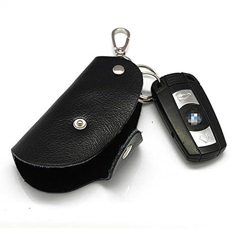 Happyit Leder-Auto-Schlüsselabdeckungs-Fall Männer und Frauen-allgemeine hohe Art und Weise für alle Auto-Schlüssel (Schwarz)