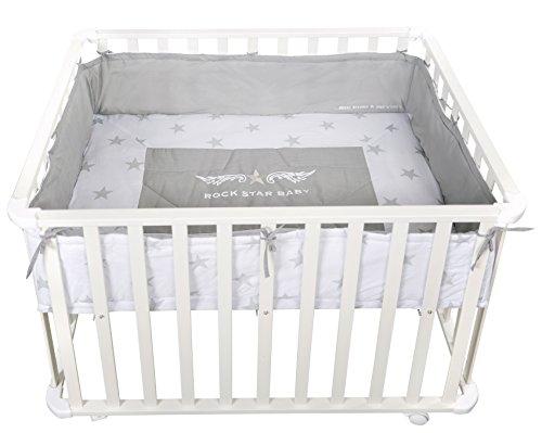 roba Laufgitter Rock Star Baby (sicheres Spielgitter, Schutzeinlage und Rollen, Baby Krabbelgitter) Laufstall 75 x 100 cm holz weiß