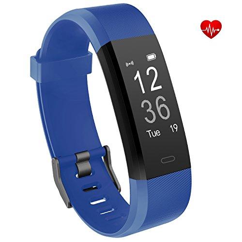 Vigorun Fitness Armband Echtzeit-Herzfrequenz-Überwachung YG3 Plus Fitness Tracker Fernauslöser Mult (Blau)