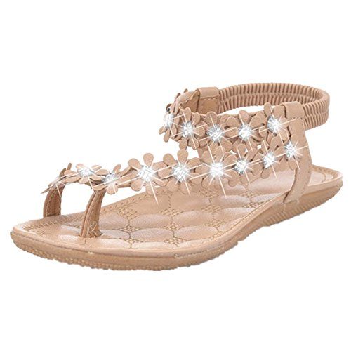 OVERMAL La Femme éTé Tong Chaussures Sandales Fleurs Plat Kaki