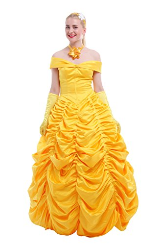Nuoqi reg; Women Satin Gothic Lolita Princess Cosplay Dress Yellow (M, yellow)
