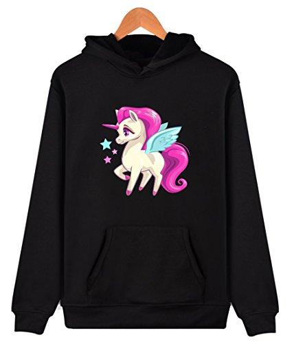 4-sterne-hoodie (Eudolah Damen Hoodie Pulli Cartoon Tier Kapuzenpullover Sweatshirt Sport Einhorn Stern-Schwarz Gr.4XL)