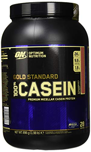 Optimum Nutrition Gold Standard Casein Eiweißpulver (mit Glutamin und Aminosäuren, Protein Shake von ON), Strawberry Delight, 28 Portionen, 0.9kg