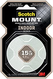 Scotch Indoor Mounting Tape 110P, 1/2 in x 75-in (1.27cm x 1.9m), White.1 Roll/pack