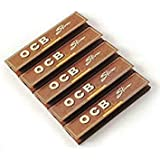 SEGGO Brown King Size OCB Rolling Paper Pack Of 5 Booklet (160 Leaves) Assorted Hookah Flavor
