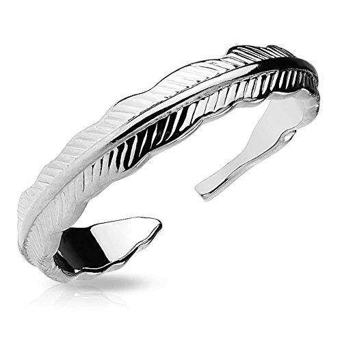 Bungsa Silber - Federn Zehenring Damen Gold/Silber/Rosegold (Zehring Fussschmuck Fussring Toe-Ring Nail Ring Nagelring biegbar Verstellbar)