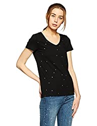 GAP Womens Plain Regular Fit T-Shirt (18528313701_True Black_XS)