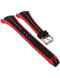 Calypso watches Reloj de pulsera banda de plástico banda negro/rojo de repuesto para modelo K5539/3