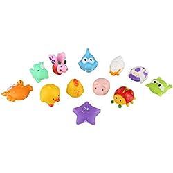 Peradix Bañera Juguetes con 12 Piezas Coloridos Animales Flotantes de Goma Suave Hacer Sonido para Natación Bebé Niños