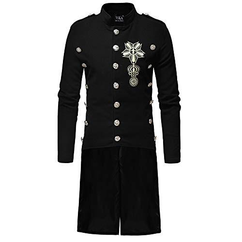 Yvelands Herren Mäntel Herbst Winter warme Jacke der Männer beiläufige Mantel dünne Lange Grabenknöpfe Mäntel(EU-54/L3,Schwarz)