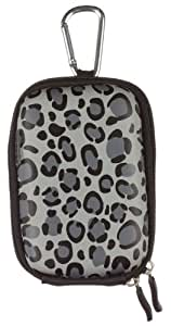 Trendz Zipped Hard Case Cover Bag with Belt Loop and Carabiner for Universal Compact Digital Cameras (Usable Size Approx.: H 110 x W 70 x D 28 mm) - Grey Leopard Print