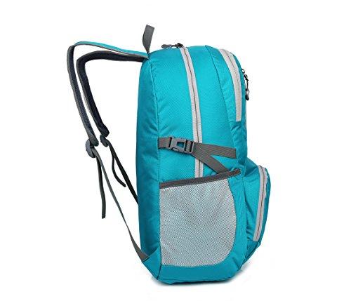 Lily's Locker- 30L Mann Frauen Outdoor Sport Daypacks Faltbarer Rucksack zum Wandern Camping Bergsteigen Fitnes Reisen Blau