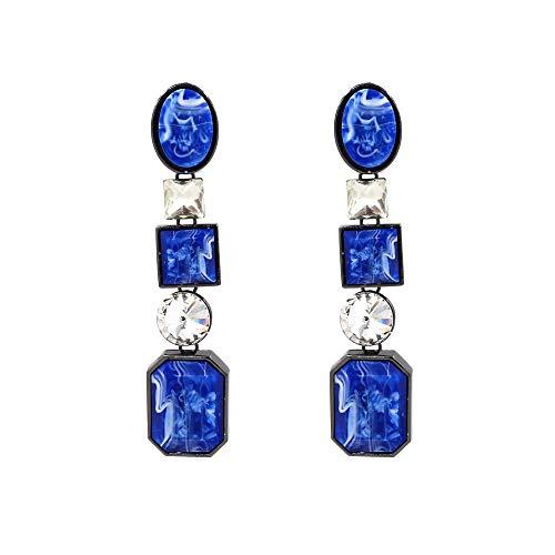 Escyq orecchiniabottoneorecchinipendentilineadell'orecchio colore pietre semi-preziose orecchini fashion stelle con geometrica gemma orecchini blu, onorevoli regalo di compleanno