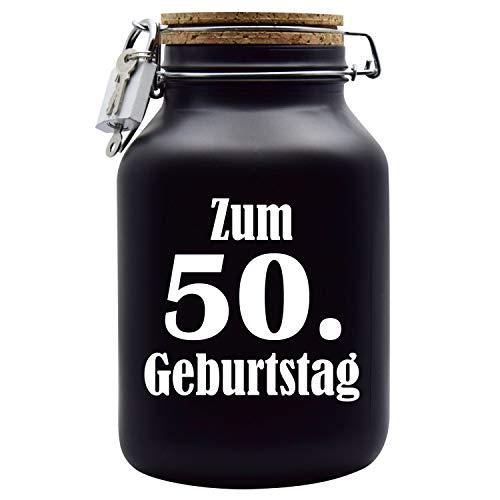 Spardose Geburtstag zum 50 - Geld-Geschenk-Idee mit Schloss in Schwarz XXL