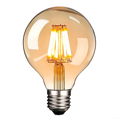 Warm Amber Glas (LED Edison Glühbirne E27, NUODIFAN Retro Glühbirne 8W Dimmbar Vintage Stil LED Filament Birne Lampe Amber Glas (500 Lumens, 2700K) Ideal für Dekorative Beleuchtung mit Antike Nostalgie Stil)