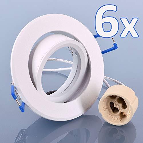 Weißer Aluminium-rahmen (6er Einbaustrahler Aluminium SET weiß mit GU10 Fassung RUND Klickverschluß Einbauleuchte Einbauspot LED/Halogen Rahmen Schwenkbar Rostfrei Deckenspot Strahler Spot)