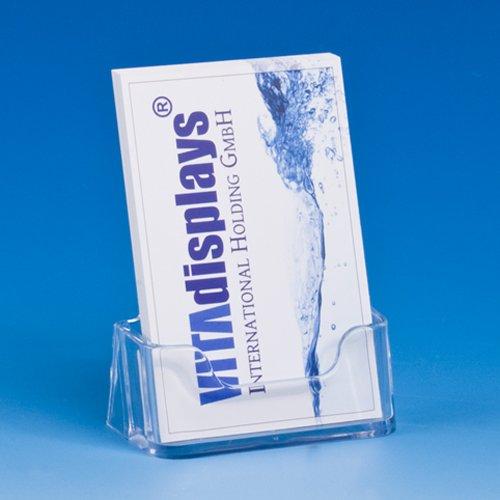 VITAdisplays® Visitenkartenhalter / Visitenkartenständer / Visitenkarten-Aufsteller, Hochformat, Transparent (NE-195)