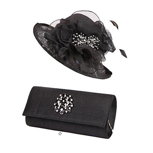 Kueeni Damenhut Kirche Hüte Elegante und Schwarze Damenhüte und Tasche