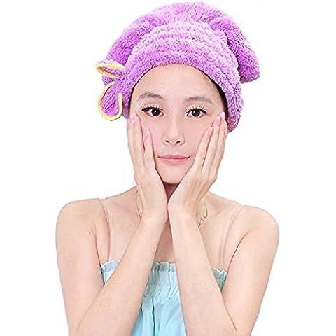Asciugamano, Cappello Donna Lunghi capelli Magic asciugamano capelli secchi Cap asciugatura rapida Turbante per capelli Wrap Dryin doccia asciugamano piscina Rosa Purple