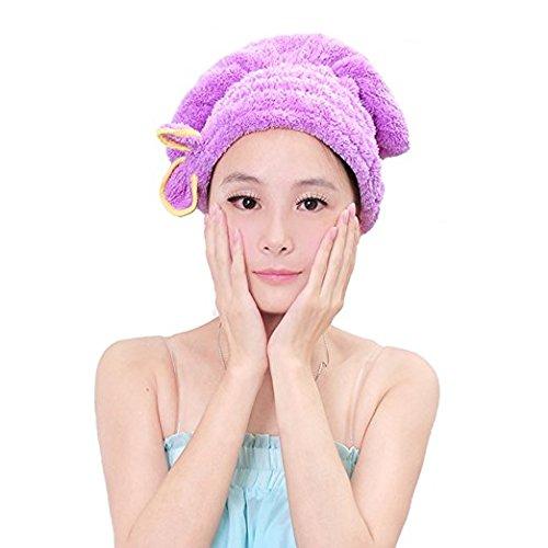 Haar trocknen Handtuch, Frauen Lady Mädchen Langes Haar Magic Trocknen Handtuch Hat Gap Quick Dry Turban für Hair Wrap Trocknen. Bad Dusche Kopf Handtuch Pool Pink violett (Eingefroren Mädchen Kleider)