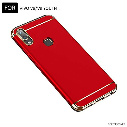 Dektek 3 in 1 Dual Hybrid Ultra-Thin Hard Back Shock Matte Finish Full Body Protective Back Cover Case for Vivo V9 / Vivo V9 Youth (Red and Gold)