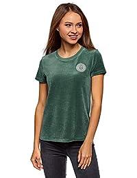 8db4211c66578 oodji Ultra Damen Baumwoll-T-Shirt aus Samtigem Stoff mit Applikation