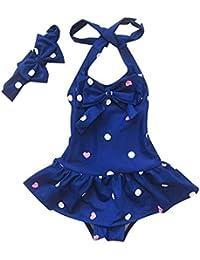 Moollyfox Traje de Baño de Una Pieza Bañador de Tipo Vestido con Cinta de Cabeza Dulce Infantil Swimwear para Niña Niñita 1 - 8 Años Azul S