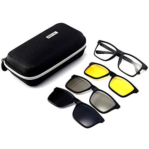 hlq Herren Uv400 Sonnenbrillen, Nachtsichtbrillen, Trend Polarized Brillenspiegel, magnetisches Spiegel-Set mit 3D Gläsern