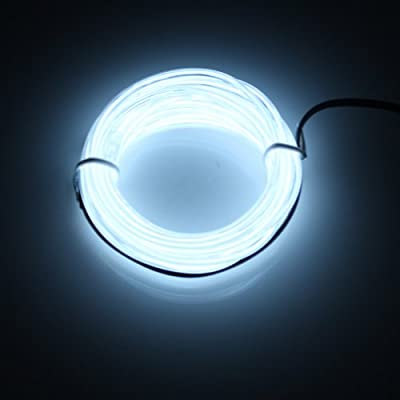 Lerway White 5M Tron Neon Flexible Glowing Electroluminescent Wire EL Wire with Transformer Christmas Light Party light