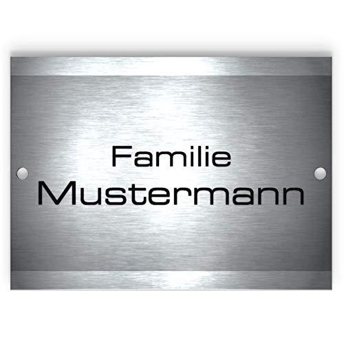 Metzler-Trade - Namensschild Edelstahl - für Briefkasten, Haustür oder Wand-montage - inklusive Gravur - selbstklebend oder Bohrungen - wetterfest - Produktmaße: 110x80mm (mit Bohrung)
