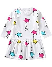 K-youth Vestidos Bebé Niña Vestido de niña Estampado de Estrella Manga Larga Plisada Vestido de Princesa Ropa Niña Party Dresses 2018