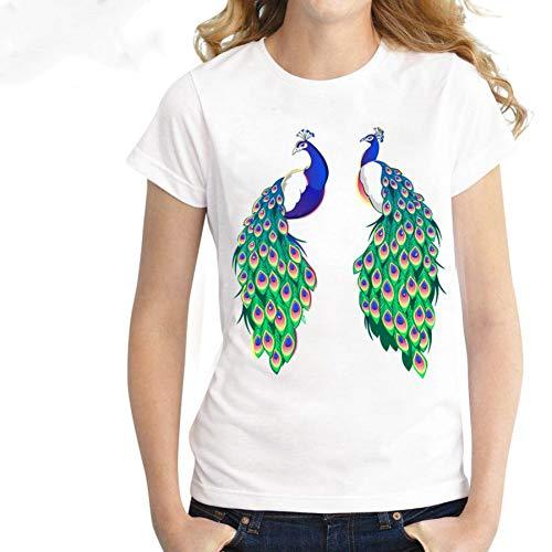 ZCYTIM Neue Sommer Mode Frauen Tops feine pfau Printed T-Shirt Design Casual T Shirt schöne süße mädchen Tees