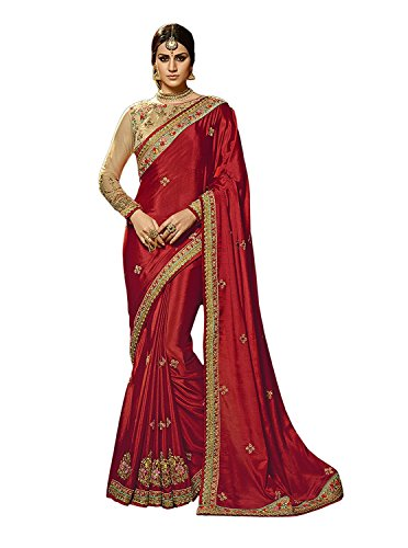 Kjp Villa Women's Paper Silk Maroon Free Size Embroidery Saree With Blouse...