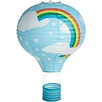 Lighting Web - Lampadario in carta a forma di mongolfiera decorata con arcobaleno, 41 cm, blu
